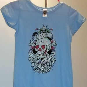 Ed Hardy Blue TShirt Dress Love Kills Slowly SZ M